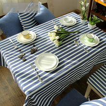 Mediterranean American Modern Striped Cotton Linen Tablecloths Rectangular Lace Tablecloth for Wedding Home Dining Table Cloth