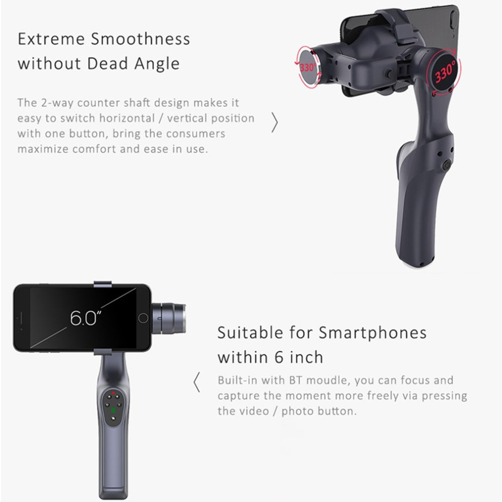 JJ-1S 2-axis Smartphone Brushless Handheld Gimbal Tray Stabilizer for GOPRO/YI/SARGO/MEEE GOU Sport Action Camera 7