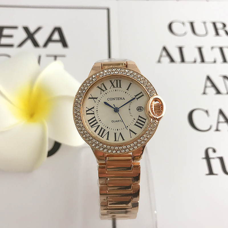 58e1240a24f CONTENA Lady Fashion Rose Gold Wrist Watch Women Famous Brand Golden Quartz  students Watches Relogio