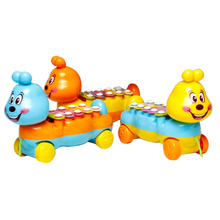 Cartoon Caterpillar Shape Toy Piano Car Plastic Pulling Move Baby Infant Walk Training Toy Educational Music Knocking Piano Car(China)