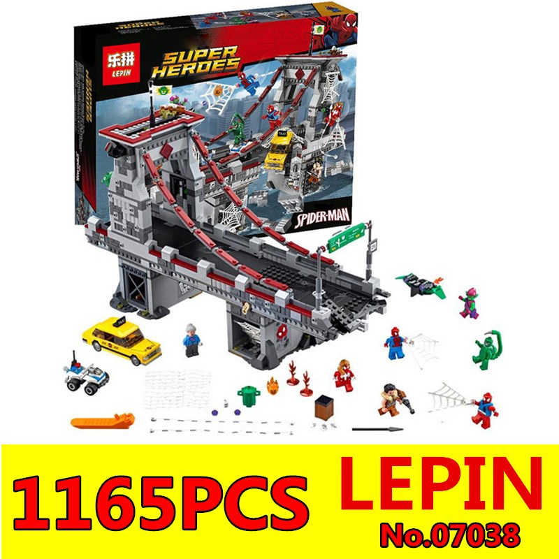 LEPIN 07038 1165Pcs Super Hero Spiderman Web Warriors Bridge Battle Model Building Blocks Bricks Set Education Children Toys<br>