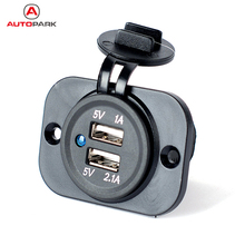 Kkmoon Car Boat Marine RV Caravan Dual USB Port Charger Adapter for iOS Android Mobile Phone iPad GPS Navigator(China)