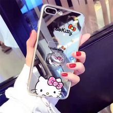 For Samsung S8 Cases Carton Mickey Minnie Winnie Hello Kitty Mirror Soft TPU Cases For Samsung S8 Plus Mobile Phone Bags&Capas(China)