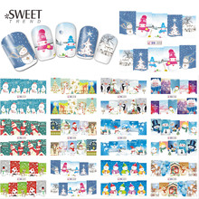 1Sheet Christmas Snowman Nail Art Stickers Full Wraps Water Transfer Designs Xmas Nail Tips Decals Manicure Decor LABN217-228(China)