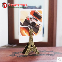 Retro Style Paris Eiffel Tower Metal Clips Photo Bookmark Decoration Memo Paper Clip Card Note Holder Office Supplies Accessorie