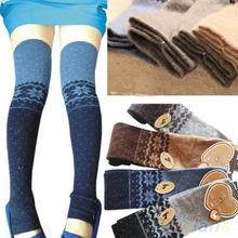 Women Snowflake Thigh High Leg Warmers Socks Winter Over Knee Boot Cuff 22M4