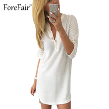 Forefair New Fashion Knitted Cotton Polo T Shirt Dress For Women Spring Casual Straight Bottom Long Sleeve Button Bodycon Dress