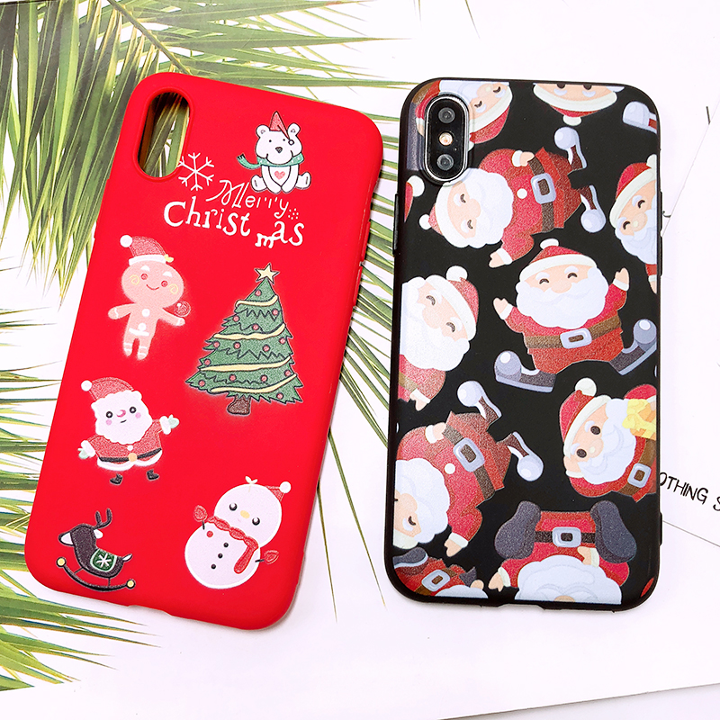 Phone Case For iPhone 7 5 S 5S SE 6 6s 7 8 Plus X XR XS Max Fashion Cute Cartoon Christmas Lovely Santa Claus Elk Soft TPU Cover (27)