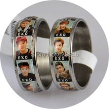 NEW 8x EXO Band member Korean S.M.Entertainment Company Stainless Steel Finger Ring Fashion Jewelry Wholesale