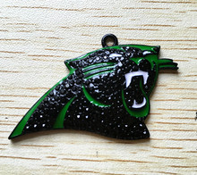 40x32mm10pcs/lot Electrophoresis green enamel black Zinc alloy panther rhinestone Pendants for Jewelry Necklace making(As shown)(China)