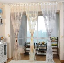 Rustic circle design tulle curtains window screening for balcony