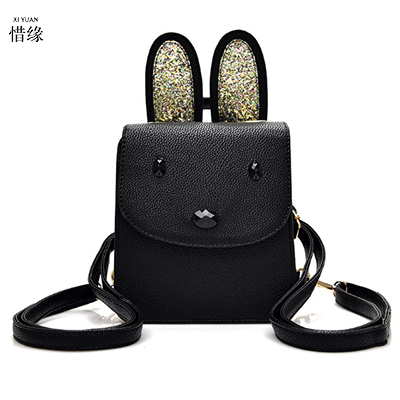 2017 girls New Arrival pu Leather Women rabbit black Backpack School Bags For Teenagers Fashion Ladies Backpacks Bags Sac A Dos<br>