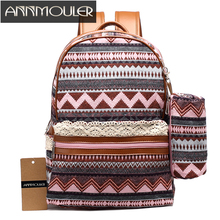 Annmouler Brand Women Backpack Large Capacity Ladies Backpacks Canvas Rucksack Fashion Daypack School Bag with Pen Bag Case