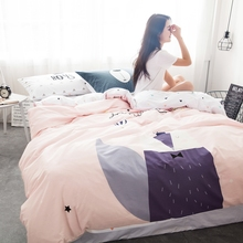 Pink Girls 100% Cotton Duvet Cover Set Queen Size Cartoon Fox Bedding Set White Bed Sheet Pillow Case Soft Duvet Cover/Coveret(China)