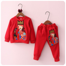Autumn 2016 Korean Girl Children's Garment 2 Pieces Set Girl Baby An Crown Poker Embroidery Sweater Jacket Long Pants Suit