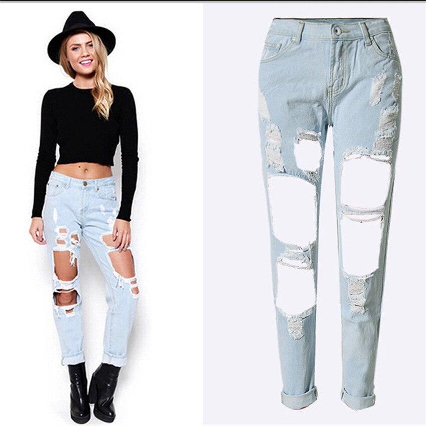2017 Spring New Hot Cotton Lady Casual Hole Jeans Europe And The United States Popular Large Size Loose Pants Feet  001nzkÎäåæäà è àêñåññóàðû<br><br>