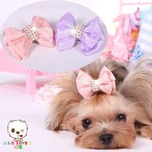 Explosion Models 2017 Newest Wholesale Dog Accessories Princess Lace Diamond Hair Bows Small Pet Hairpin Cute Headwear. MK15D11