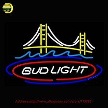 Bud Light San Francisco Bridge Beer Light Neon Sign Hand Craft Decoration Neon Bulb Glass Tube Art Real Neon Signs Attract 31x20(China)