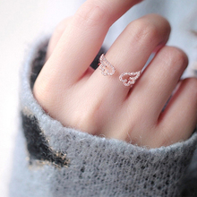 2017 Fashion Luxury Crystal Charming Angel Rings for Women Jewelry Fashion Open Adjustable Finger Ring #238251(China)