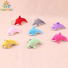 New 8cm 20pcs/lot wholesale saml Animal Plush TOY,Dolphin toy Phone Pendant Lanyard Chain,Key Chain promotion toy gifts(China)