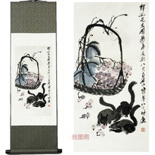 Home Decor Silk ink Qi Baishi squirrel grape ink and wash watercolor painting feng shui scroll traditional chinese painting(China)