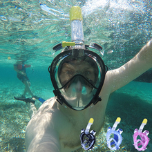 2017 Underwater Diving Mask Scuba Full Face Snorkeling mask Respiratory waterproof Swimming Snorkel training masks(China)