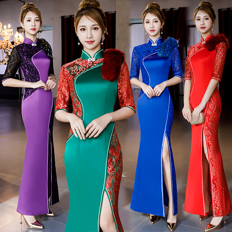 Plus SIze 3XL 4XL 5XL Women Slim Cheongsam Chinese Style Evening Party Dress Classic Lace High Split Qipao Traditional Vestidos