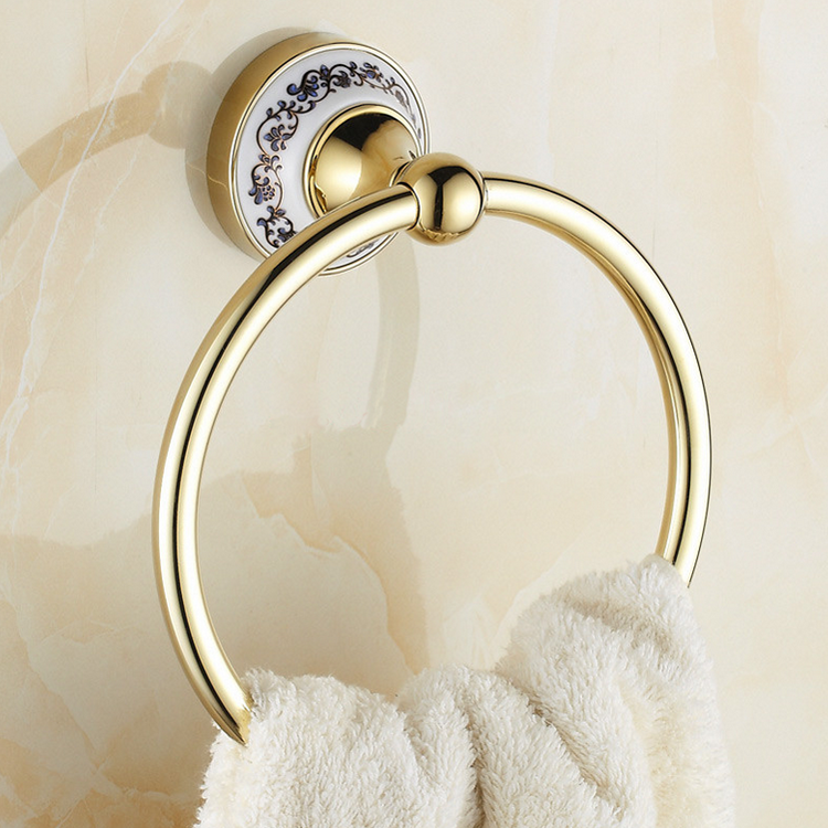 Luxury Bathroom gloden towel ring gold porcelain towel bar holder bathroom accessories towel rail<br>