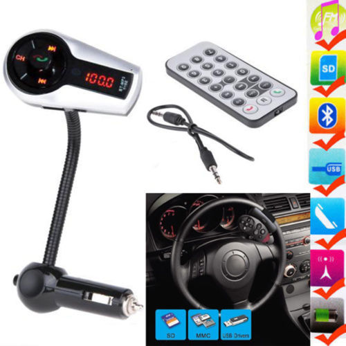 Bluetooth Car Kit MP3 Player FM Transmitter Wireless USB charger for Iphone,Samsung BT SD Aux radio adapter MMC LCD blue light With Remote control