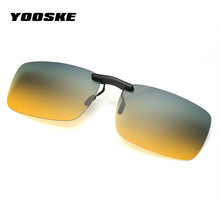 YOOSKE Rimless Polarized Sunglasses Clip on Glasses for Driver Driving Men Flip Myopia on Sun Glasses Night Vision Lens UV400