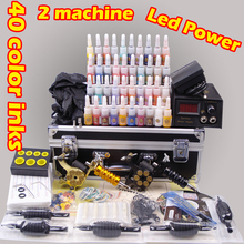 professional tattoo machine set complete tool box power ink switch needles tip kit tattoo body paint tattoo supplies
