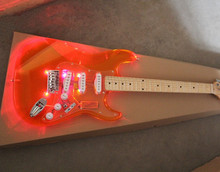 Free Shipping-Electric Guitar,Acrylic Jacinth Body,Maple Fretboard,led Lights on Body,Chrome Hardware,can be Customized