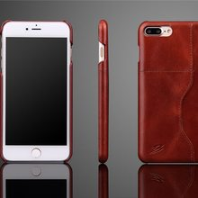 For iPhone 7 Plus Oil Wax Texture High Quality Cowskin Leather Case with Cross Card Slot Cover Phone Bag Free Shipping(China)