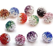 10mm 50pcs/lot Mixed color in random Micro Pave Disco Ball Gradual Change Crystal Shamballa Beads.jewerly making bead Lot!