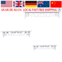 Three Wall Floating Shelfves Shabby Chic Bookshelf White Wood Display Wall Shelf Storage Ledge Home Dector(Hong Kong)