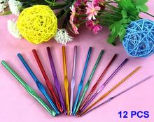 12 PCS Multi-color Aluminum Crochet Hooks Knitting Needles Weave Craft Free shipping-Y102