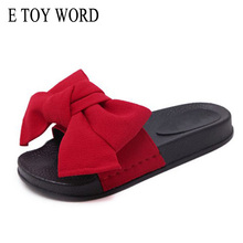 E TOY WORD New Women Bow Slippers Hemp Fabric Bowtie Slides Rubber Flat Sandals Home Slippers Casual Big size Women shoes(China)