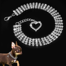 Rhinestone Dog Collar Jewelry Necklace For Pet Dogs With Novelty Crystal Heart Charm Pendant
