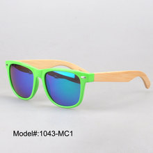 1043 new arrival plastic sunglasses colourful choice with spring hinge  bamboo temple sunshade UVB