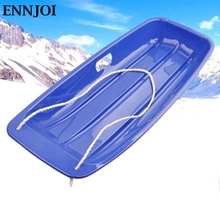 ENNJOI Outdoor Sports Plastic Skiing Boards Sled Luge Snow Grass Sand Board Ski Pad Snowboard with Rope for Adult and Children