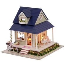Bicycle Angle Duplex Villa DIY Wood Doll house 3D Miniature Music box+Lights+Furnitures Building model Home&Store decoration Toy