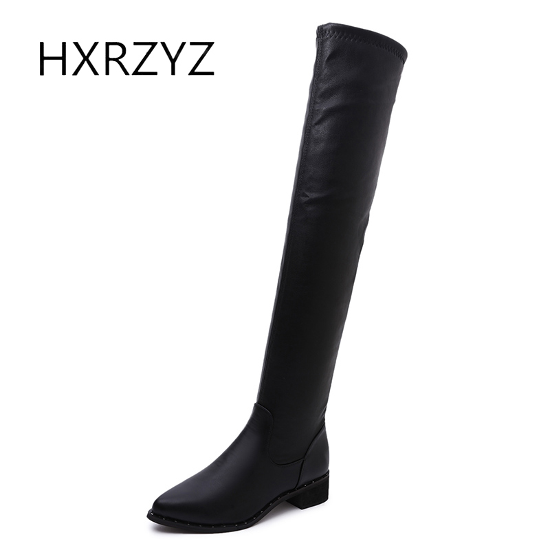 HXRZYZ women over the knee boots ladies black long boots autumn and winter new fashion elastic stretch pointed toe shoes women<br>