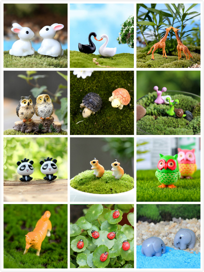 1/2/10pcs Animals Miniatures Figurines Ladybug Snail Owl Tortoise Dogs Resin Craft Dollhouse Bonsai Decor Terrarium Decoracion