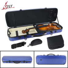 New Fiberglass Full Size Blue Violin Case Large Storage Space w/ Straps Hygrometer