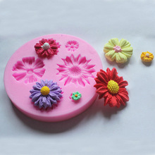 DIY Daisy Flower Silicone Mold Fondant Cake Decorating Tools Sugarcraft Cake Mold 3D Silicone Bakeware Moulds Free Shipping 1529