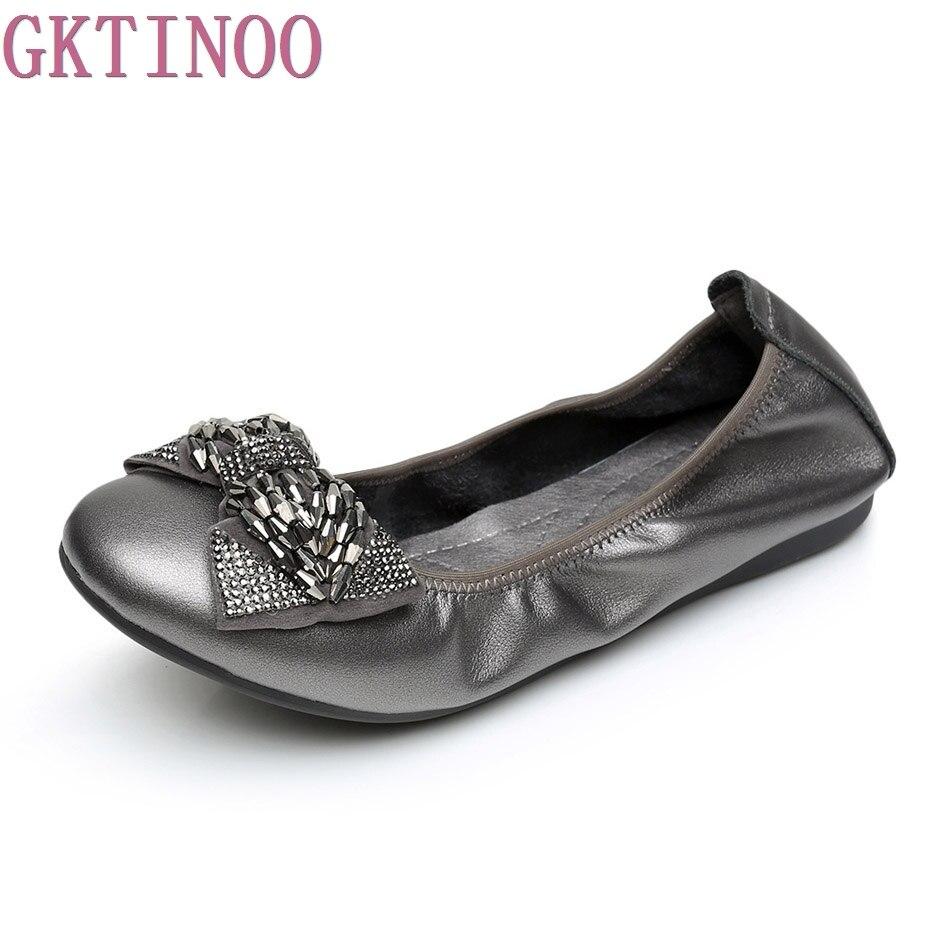 2017 Shoe For Women Handmade Shoes Genuine Leather Soft Flat Autumn Driving Shoes Comfortable Women Flats plus size 35-43<br>
