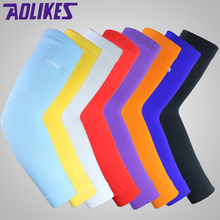 AOLIKES 1PCS Elastic Basketball arm Sleeve Armband Soccer Volleyball Elbow Support Brace Cotovelo de basquete Sports Protector(China)