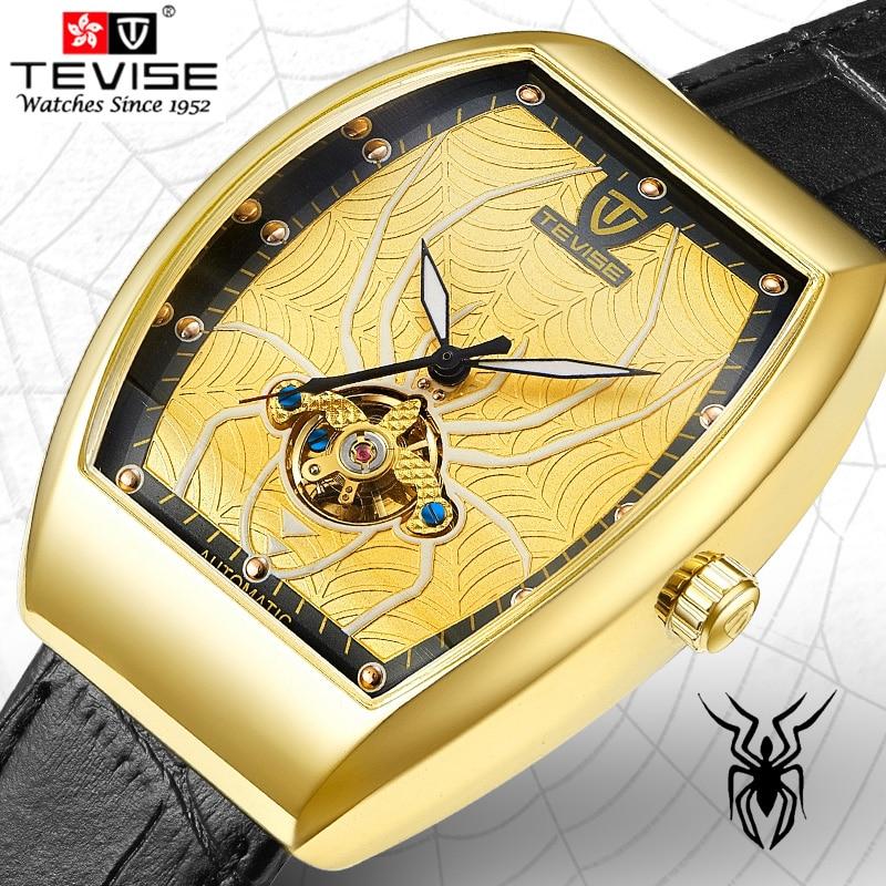TEVISE High Quality Tourbillon Automatic Mechanical Watches Men Self Wind Fashion Genuine Leather Wristwatches Tonneau Clock<br>
