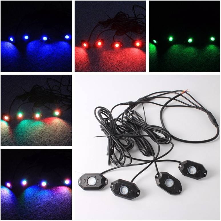 RGB LED Rock Light With Bluetooth / Cell Phone / Timing / Music Mode / Flashing / Automatic Control Under OffRoad Truck SUV ATV<br><br>Aliexpress