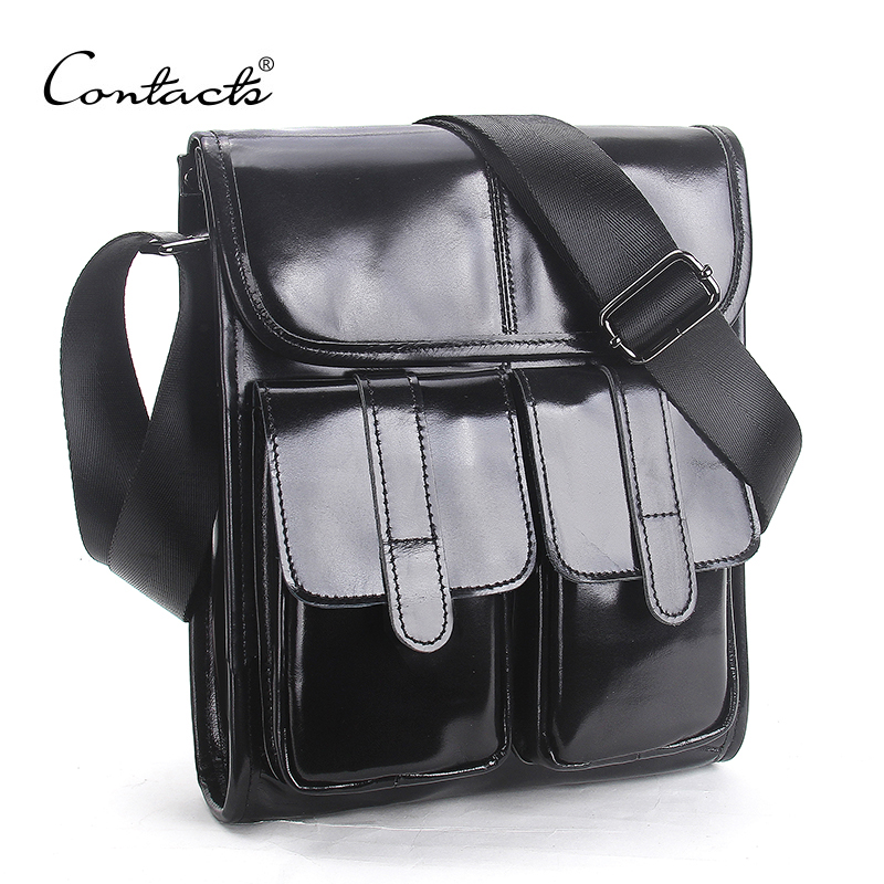 CONTACTS Brand Design Genuine Oil Wax Leather Men Bags For Fashion Handbags Shoulder Vintage Retro Men Messenger Bags Briefcase<br>